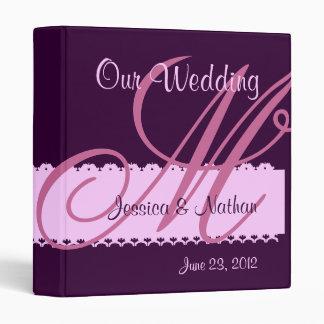 PURPLE & PINK Monogram Wedding Planner Binder