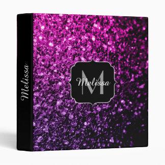 Purple Pink Ombre glitter sparkles Monogram Binder