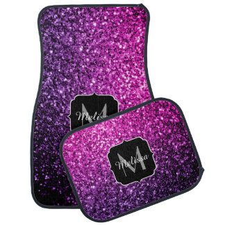 Purple Pink Ombre glitter sparkles Monogram Car Floor Mat