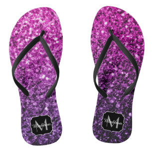 f1760b635430f0 Purple Pink Ombre glitter sparkles Monogram Flip Flops