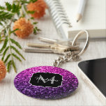 "Purple Pink Ombre glitter sparkles Monogram Keychain<br><div class=""desc"">Personalize with your initial and name. Beautiful girly glamorous pink and purple gradient shiny glitters sparkles. Photo of pink and purple sparkles not actual glitter!</div>"