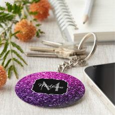 Purple Pink Ombre glitter sparkles Monogram Keychain
