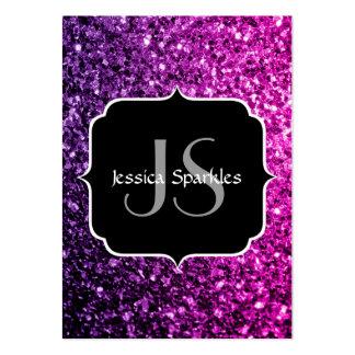 Purple Pink Ombre glitter sparkles Monogram Large Business Card