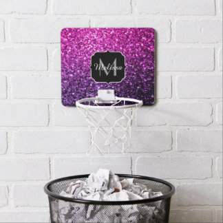 Purple Pink Ombre glitter sparkles Monogram Mini Basketball Backboard