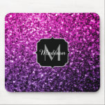 "Purple Pink Ombre glitter sparkles Monogram Mouse Pad<br><div class=""desc"">Personalize sparkly mouse pad with your initial and name. Beautiful girly glamorous pink and purple gradient shiny glitters sparkles. Photo of pink and purple sparkles not actual glitter!</div>"