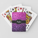 "Purple Pink Ombre glitter sparkles Monogram Playing Cards<br><div class=""desc"">Sparkly playing cards that you can personalize with your initial and name. Beautiful girly glamorous pink and purple gradient shiny glitters sparkles. Photo of pink and purple sparkles not actual glitter!</div>"
