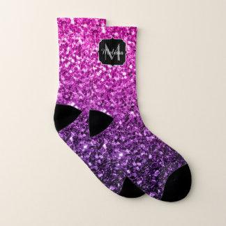 Purple Pink Ombre glitter sparkles Monogram Socks