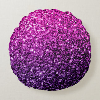 Purple Pink Ombre glitter sparkles Round Pillow