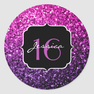 Purple Pink Ombre glitter sparkles Sweet 16 Classic Round Sticker