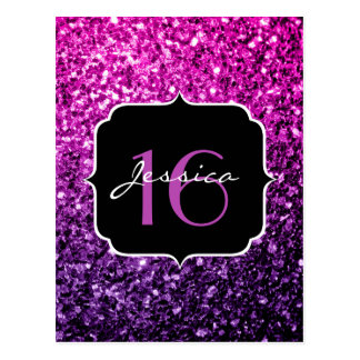 Purple Pink Ombre glitter sparkles Sweet 16 Postcard