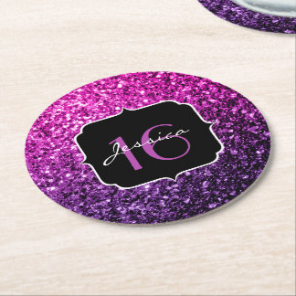 Purple Pink Ombre glitter sparkles Sweet 16 Round Paper Coaster