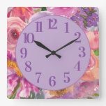 Purple Pink Orange Watercolor Floral Square Wall Clock