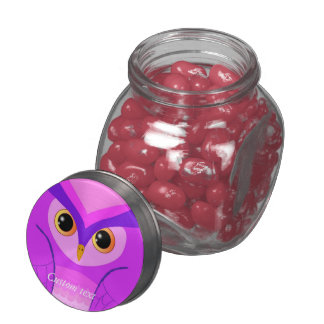 Purple Pink owl custom Glass Jar