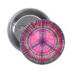 Purple Pink Peace Sign Tie Dye Button