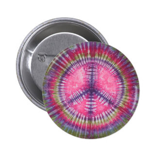 Purple Pink Peace Sign Tie Dye Button