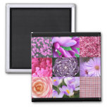 Purple / Pink Photo Collage 2 Inch Square Magnet