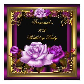 Purple Pink Plum Roses Gold Elegant Birthday 5 Card