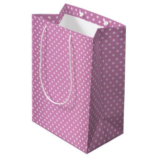 Purple Pink Polka Dots Pattern Medium Gift Bag