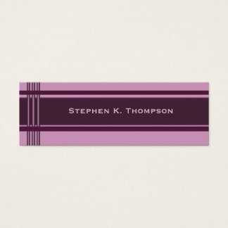 Purple pink Professional Stripes Block Mini Business Card