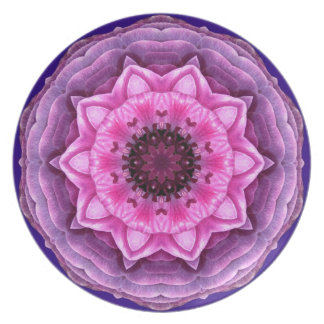 Purple/Pink Ranunculus Kaleidoscope party plate