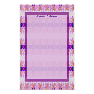 purple pink ribbons stationery