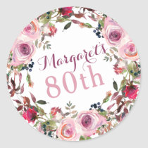 Purple Pink Rose Floral 80th Birthday Classic Round Sticker