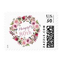 Purple Pink Rose Floral 80th Birthday Postage