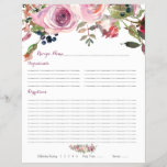 """Purple Pink Rose Floral Binder Recipe Inserts<br><div class=""""desc"""">Purple and pink chic rose floral binder recipe insert sheets. This purple and pink watercolor roses wedding recipe insert is a good choice for a summer wedding shower or a fall / autumn wedding shower (could work for a spring or winter wedding shower as well). This rose flower recipe insert...</div>"""