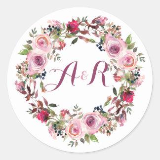 Purple Pink Rose Floral Monogram Wedding Classic Round Sticker