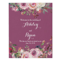 Purple Pink Rose Floral Wedding Welcome Faux Canvas Print