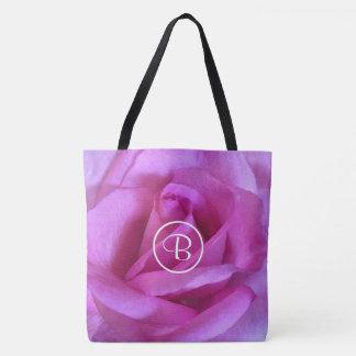 Purple pink rose photo custom monogram tote bag