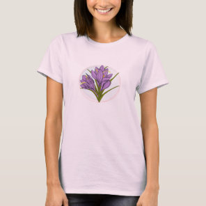 purple pink Saffron flower illustration T-Shirt
