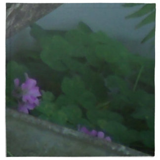 Purple Pink Shamrock Clover Flowers Printed Napkins