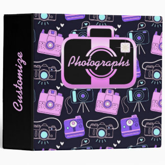 Purple & Pink Shutter Bug Retro Cameras Binder