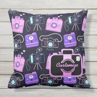 Purple & Pink Shutter Bug Retro Cameras Pillow