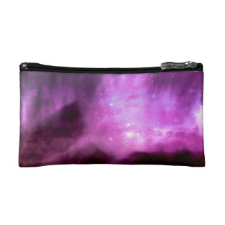 Purple pink stars in space cosmetics bags