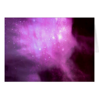 Purple pink stars in space card