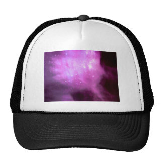 Purple pink stars in space trucker hat