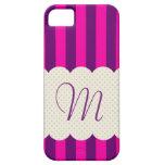 Purple Pink Stripes Polka Dots Monogram iPhone SE/5/5s Case