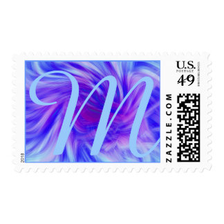 Purple & pink swirl background for monogram postage