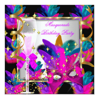 Purple Pink Teal Blue Masquerade Party Birthday Card