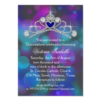 Purple Pink Teal Blue Quinceanera 5x7 Paper Invitation Card