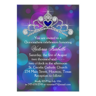 Purple Pink Teal Blue Quinceanera Invite