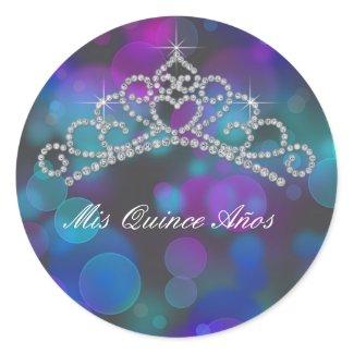 Purple Pink Teal Tiara Sweet 15 16 Quinceana Label sticker