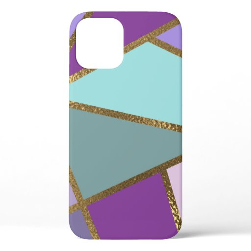 Purple Pink Teal Turquoise & Bronze Gold Geometric iPhone 12 Case