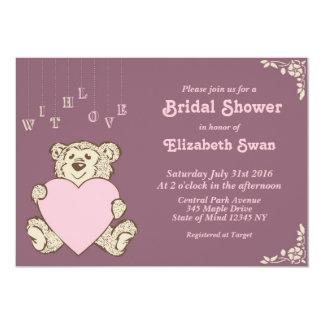 Purple Pink Teddy Bear Bridal Shower Invitation
