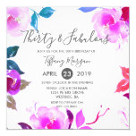 Hand shaped Purple Pink Thirty & Fabulous 30th Birthday Party Card