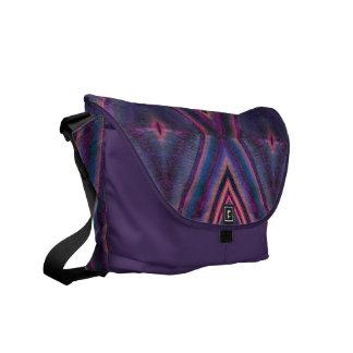 purple pink tile pattern messenger bag