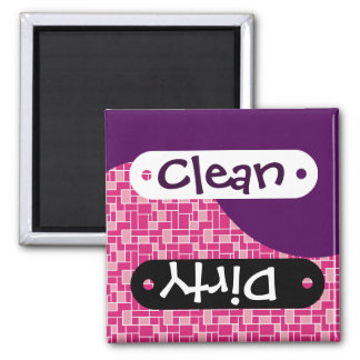 Purple Pink Tiles Clean Dirty Dishwasher Magnet