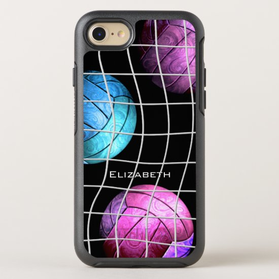 purple pink turquois women's volleyball OtterBox symmetry iPhone SE/8/7 case